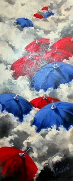 Red umbrella | Helen Cottle 1962 | American Impressionist painter