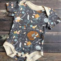 Organic Baby Bodysuit - Fox In the Garden - baby summer romper, shortie romper, snap open romper