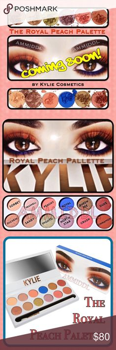 🆕COMING SOON👁KYLIE👁The ROYAL PEACH PALETTE 🚫NO TRADES🚫PRICE IS FIRM ✅💯% AUTHENTIC ✅BUY WITH CONFIDENCE  Contains: •1 Kyshadow pressed powder palette•1 tapered blending brush •Ships in black box  The eye shadows are talc/paraben free, have medium buildable coverage & a velvety smooth texture.  12 shades: 🔹Sorbet (matte) 🔹Seashell (metallic) 🔹Peachy (matte) 🔹Royal (satin) 🔹Queen Bee (metallic) 🔹Duke (metallic) 🔹Duchess (metallic) 🔹Sandy (matte) 🔹Mojito (metallic) 🔹North Star…