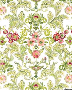 Marianna - Folk Flowers Symmetry - White/Rose Pink