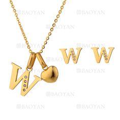 """juego collar y aretes de letra""""W""""brillante en acero dorado inoxidable -SSNEG1093676"""