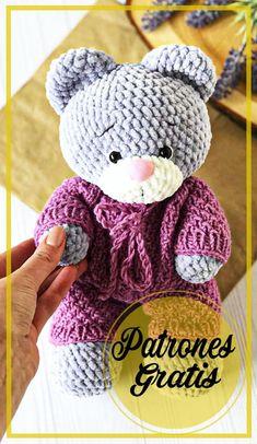 Crochet Bear, Cute Crochet, Crochet Hats, Crochet Toys Patterns, Amigurumi Patterns, Amigurumi Doll, Amigurumi Free, Bunny Toys, Handmade Toys