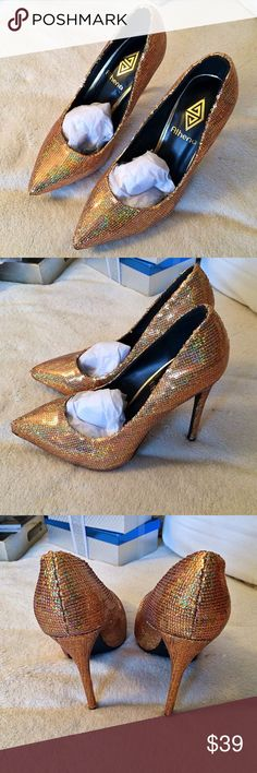 Gold Sequin HEELS 👠🌟😱 Feel like a true Cinderella in those stunnning Gold Sequin Shoes!! ✨ Brand new, in a box 📦. HEELS measures approximately 4.5 inches. Perfect for New Year's eve or a birthday celebration! 🎉 Athena Shoes Heels