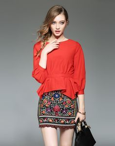 Check the details and price of this 3/4 Sleeve Waist Banded Ruffled Red Blouse (Orange Red, Ewheat) and buy it online. VIPme.com offers high-quality Blouses & Shirts at affordable price.