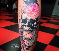 Skull tattoo by Pablo Ortiz