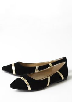Brush Of Gold Flats In Black