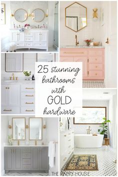 gold Bathroom Decor 25 Stunning Bathrooms with Gold Hardware Bathroom Renovations, Home Renovation, Bathroom Ideas, Bathroom Inspo, Bathroom Designs, Small Bathroom Storage, Bathroom Organization, Blue Home Decor, Chic Bathrooms