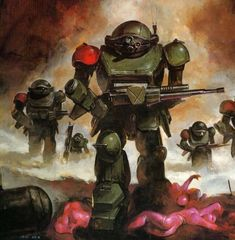 """""""The Sun hit low, and cast a fearsome blazing gleam upon the armor of my enemy, and I witnessed the blood of my friends splatte. Sci Fi Anime, Mecha Anime, Character Concept, Concept Art, Robot Illustration, Fighting Robots, Sci Fi Armor, Future Soldier, Science Fiction Art"""