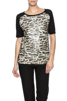 Short sleeve baseball style tee with a sequin leopard front sheer backand solid sleeves.  Leopard Sequin Tee by Ravel. Clothing - Tops - Short Sleeve Illinois