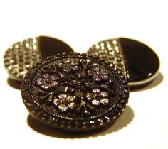 Black Glass Buttons with Silver Luster