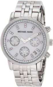 19% Discount For Michael Kors Women's MK5020 Silver Chronograph Knurl Top Ring Watch. For those who wonder its size; You will like big watches, however this watch does not seem too big on your wrist which is really good! The mother of pearl face is almost iridescent, giving it hues of white, silver,