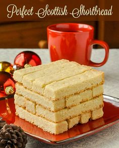 Scottish Shortbread - 4 ingredients to traditional perfection. Scottish Shortbread - With only 4 ingredients these buttery Scottish shortbread cookies are one of the best examples of simple perfection. Maybe even more perfect with chocolate. Cookie Desserts, Just Desserts, Cookie Recipes, Dessert Recipes, Dessert Ideas, Scottish Recipes, Irish Recipes, Sweet Recipes, Rock Recipes
