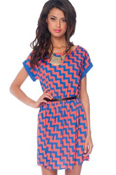 Step Up Dress in Red and Blue :: tobi