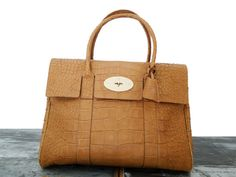 ac03ea5e77a3 Mulberry Bayswater Croc Effect Leather Bag Biscuit Brown  895   Jill s  Consignment