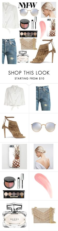 """""""NYFW"""" by bec64 ❤ liked on Polyvore featuring River Island, Levi's, Aquazzura, Ray-Ban, ASOS, Bobbi Brown Cosmetics, Gucci and Cynthia Rowley"""