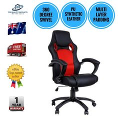 Executive PU Leather Office Computer Chair Tilt 360 Degree Swivel Black Red New