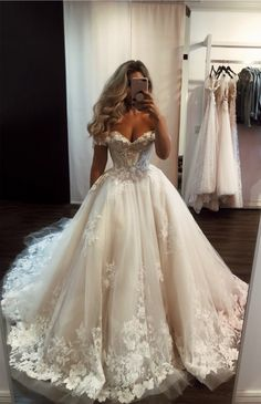May 2020 - Ivory tulle lace long prom gown formal dress Cute Wedding Dress, Wedding Dress Trends, Princess Wedding Dresses, Tulle Wedding, Dream Wedding Dresses, Bridal Dresses, Ivory Wedding, Wedding Bells, Bridal Gown