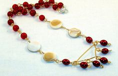 Red & Gold Pearl Necklace by PursuitofLight on Etsy, $26.00