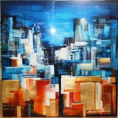 Adriana Naveh - Nocturno - MEDIUM: Original Mixed Media on Aluminum Panel SIZE: 43x43
