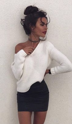 #winter #outfits white scoop-neck sweater