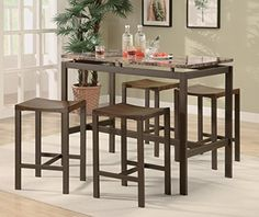 Coaster Atlus Counter Height Contemporary Brown Metal Table with Marble Look Top and 4 Stools ** To view further for this item, visit the image link.Note:It is affiliate link to Amazon.