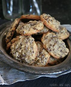 Favorite Chocolate Chip Cookies. Made with buter, light brown, dark brown sugar, eggs, vanilla, flour, baking soda, baking powder, sea salt, and mini chocolate chips.