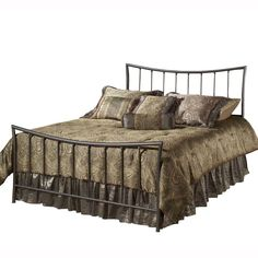 Hillsdale Edgewood Metal Bed - Pewter Finish