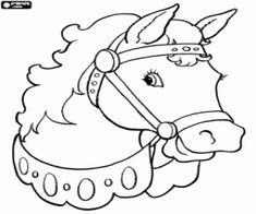 Colorear Cabeza de caballo con collar, brida y arnés de caballo