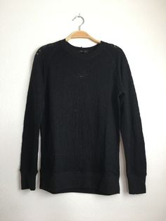 BLACK ORCHID Long Sleeve Round Neck Burnout Sweatshirt Pullover Top Black S $120 #BlackOrchid #KnitTop #Casual