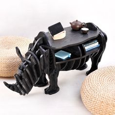 249.99$  Watch here - http://aliljr.worldwells.pw/go.php?t=32765827251 - Creative Nordic Decoration European fashion creative crafts wooden Home Decoration Australian rhino table cute souvenirs gift