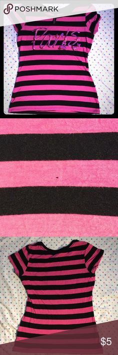 Hybrid apparel Paris Tee Pink and black tee. Small hole in front. Fits M/L Hybrid Apparel Shirts & Tops Tees - Short Sleeve