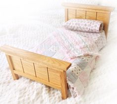 """This Wood Oak Bed fits 18"""" dolls like #American Girl. What a good gift idea! Made by mydressedupdoll on Etsy. #agdolls #etsy"""