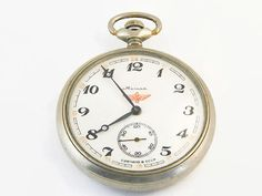 Pocket Watch Vintage, MOLNIJA with Chain Clipper Sailing Ship Working Mechanical Mens Pocket Watch from Russia Soviet Union USSR Molnija