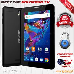 VeryKool KolorPAD IV T7445 (8GB) Android Nougat 7.0 5MP 7HD Unlocked GSM Tablet  Item specifics  Condition:  New: A brand-new unused unopened undamaged item in its original packaging (where packaging is  Brand:  verykool  RAM:  1GB  Operating System:  Android 7.0 Nougat  Network Technology:  GSM  Storage Capacity:  8GB  Model:  VeryKool Kolorpad IV  Style:  Smartphone  Network:  Unlocked  Features:  2MP Selfie Camera 3G Data Capable Bluetooth Enabled Global Ready GPS Internet Browser Music