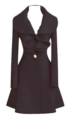 Coats I LOVE! Black High Waist Woolen Coat With Ruffled Collar