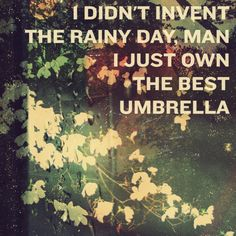 I didn't invent the rainy day, man. I just own the best umbrella.