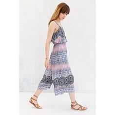 Ecote Double-Layer Wide-Leg Gaucho Jumpsuit featuring polyvore, fashion, clothing, jumpsuits, blue multi, blue jumpsuit, print jumpsuit, jump suit, ecote and blue jump suit