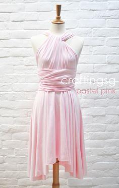 Bridesmaid Dress Infinity Dress Pastel Pink Knee Length Wrap Convertible Dress Wedding Dress
