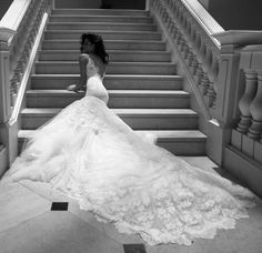 Lace. mermaid. Berta Bridal Fall 2013 | The stairs must not have much place anymore