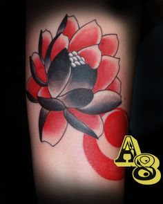 Lotus Flower tattoo, japanese tattoo Black and red, By chad from Aces-n-Eights tattoo, Aces and Eights Tattoo in Lakewood, Wa A8