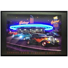 Galaxy Diner Neon/LED Picture 36x24 Lighted Print Art Home Wall Decor