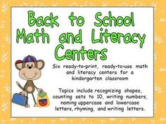 This packet is full of fun, engaging, standards-based math and literacy activities for kindergarteners at the beginning of the school year!!!    Topics include recognizing shapes, counting sets to 10, writing numbers to 10, rhyming, naming uppercase and lowercase letters, and writing letters. $