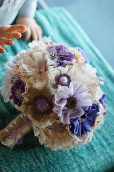 Rustic Lavender Burlap Lace Wedding Bouquet by Paxty on Etsy, $200.00