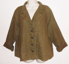 FLAX S Small Linen Jacket Olive Army Green Loose Lagenlook Pockets #Flax #BasicJacket