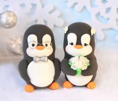 Custom Penguin wedding cake toppers - bride and groom personalized elegant love bird. $99.00, via Etsy.
