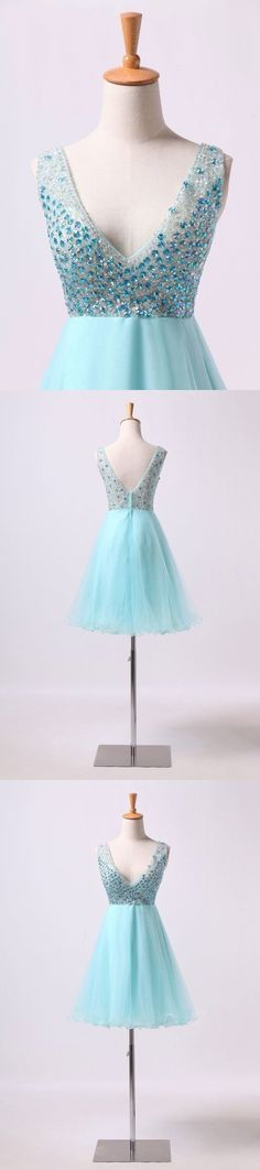2019 V Neck Homecoming Dresses Beaded Bodice A Line Short/Mini Tulle And, This dress could be custom made, there are no extra cost to do custom size and color