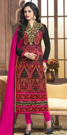 Heartily Black Georgette Straight Suit With Dupatta.