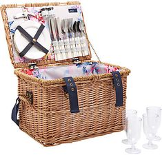 Joules Whitstable Floral Print Lining Filled Wicker Picnic Hamper, 4 Person