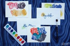 "Making Kid's Thank You Notes - write ""thank you"" in white crayon and let the kids have at it with the watercolors."