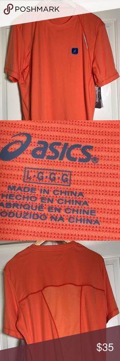 Asics Men SHOSHA STRIPED TEE LARGE NEW LARGE Asics Men's SHOSHA STRIPED TEE/LARGE- NEW WITH TAG Color 0540 color Orange  100% polyester  Inventory -ebmc-A9 ASICS Shirts Tees - Short Sleeve